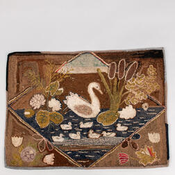 Geese in a Pond Hooked Rug