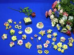 Thirty-four Bone China Floral Roses and Carnations
