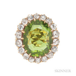 Antique Gold, Peridot, and Diamond Ring