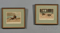 Set of Four English Hand-tinted Prints of Cock Fighting