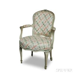 Louis XV-style Painted and Carved Wood Fauteuil