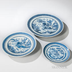 Three Canton Blue and White Plates