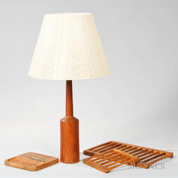 Table Lamp and Four Serving Pieces