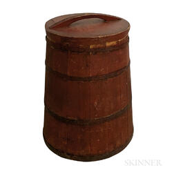 Large Red-painted Pine Stave-constructed Bin