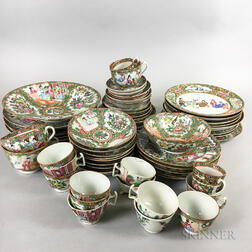 Approximately Fifty-eight Pieces of Rose Medallion Porcelain Tableware.     Estimate $200-250