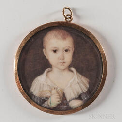 American School, Mid-19th Century      Miniature Portrait of a Boy Holding a Bird