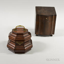 Colonial Williamsburg George III-style Mahogany Octagonal Tea Caddy and a Letter Box