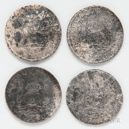 Four Shipwreck Spanish Milled Dollars