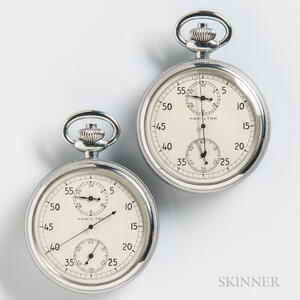"Two Hamilton ""26"" Continuous Running Stopwatches"