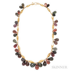High-karat Gold and Tourmaline Necklace