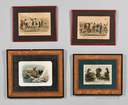 Four Framed Currier & Ives Darktown Series Prints