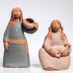 Two Billy Kratzer Terra-cotta Figures