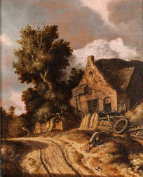 Dutch School, 19th Century      Cart Path with Figure Reading in Front of a Cottage