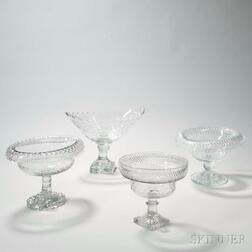 Four Colorless Cut Glass Compotes