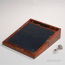 Mahogany and Brass Portable Folding Desk