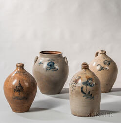 Three Stoneware Jugs and a Jar