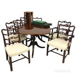 Federal-style Inlaid Mahogany Veneer Double-pedestal Dining Table and Seven Ribbon-back Chairs.     Estimate $600-800