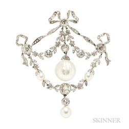 Edwardian Platinum, Natural Pearl, and Diamond Brooch