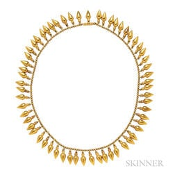 Archeological Revival Gold Fringe Necklace