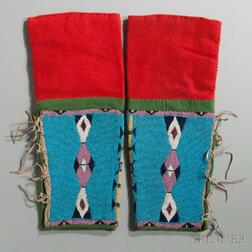 Northern Plains Beaded Cloth and Hide Woman's Leggings