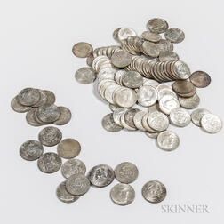 Ninety-two 1964 Kennedy Half Dollars and Twenty Clad Kennedy Half Dollars.     Estimate $400-600