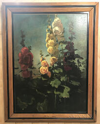 School of John La Farge (American, 1835-1910)      Double Hollyhocks