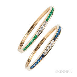 Pair of 18kt Gold Gem-set Bracelets
