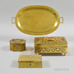 Three Brass Boxes and a Russian Tray.     Estimate $20-200