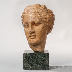 Classical-style Plaster Head on a Marble Plinth