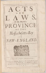 Acts and Laws of His Majesty's Province of the Massachusetts-Bay in New-England.