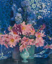 Laura Coombs Hills (American, 1859-1952)      Dahlias and Campanulas