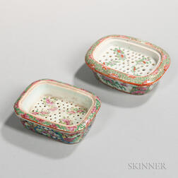 Two Famille Rose Export Porcelain Soap Dishes with Inserts