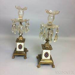 Pair of Gilt Cast Brass, Colorless Glass, and Porcelain Candlesticks