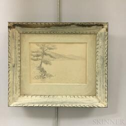 Two Framed Edwin B. Sears (American, 20th Century) Sketches of Lake George