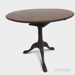 Chippendale-style Carved Mahogany Birdcage Tilt-top Tea Table