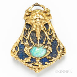 14kt Gold, Lapis, and Opal Crab Brooch
