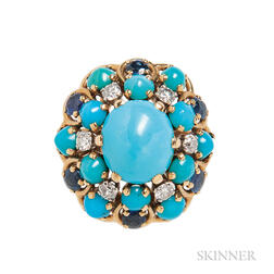 18kt Gold, Turquoise, Sapphire, and Diamond Ring