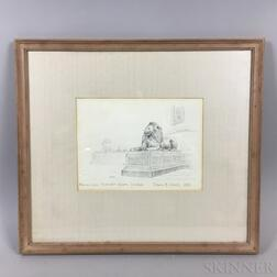 Framed Edwin B. Sears (American, 20th Century) Pencil Sketch of Bronze Lions in Trafalgar Square