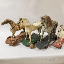 Four Polychrome Painted Wood Horse Pull Toys