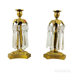 Pair of Brass and Cut Glass Candlesticks