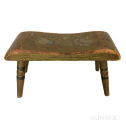 Small Painted and Floral-decorated Footstool