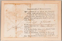 Hancock, John (1737-1793) Document Signed, Ship's Register 1784.
