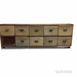 Early Painted and Stenciled Pine Ten-drawer Apothecary Chest