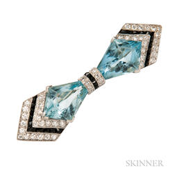 Art Deco Platinum, Aquamarine, Onyx, and Diamond Bow Brooch