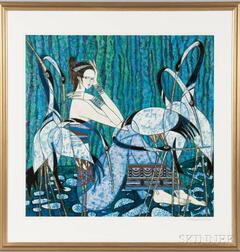 Framed Ting Shao Kuang (Chinese, b. 1939)   Lithograph of a Woman and Cranes, 1984