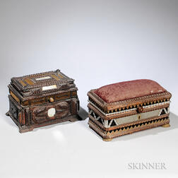 Two Tramp Art Jewelry Boxes