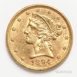 1894 $5 Liberty Head Gold Coin
