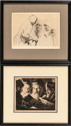 Two Framed Etchings on Jewish Subjects:      Julius C. Turner (German, 1881-1948), Scholars Studying by Candlelight