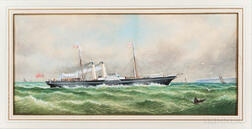 American School, Late 19th Century      A British Steamship off the Coast