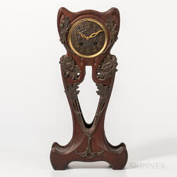 Art Nouveau Mahogany and Patinated-bronze-mounted Mantel Clock